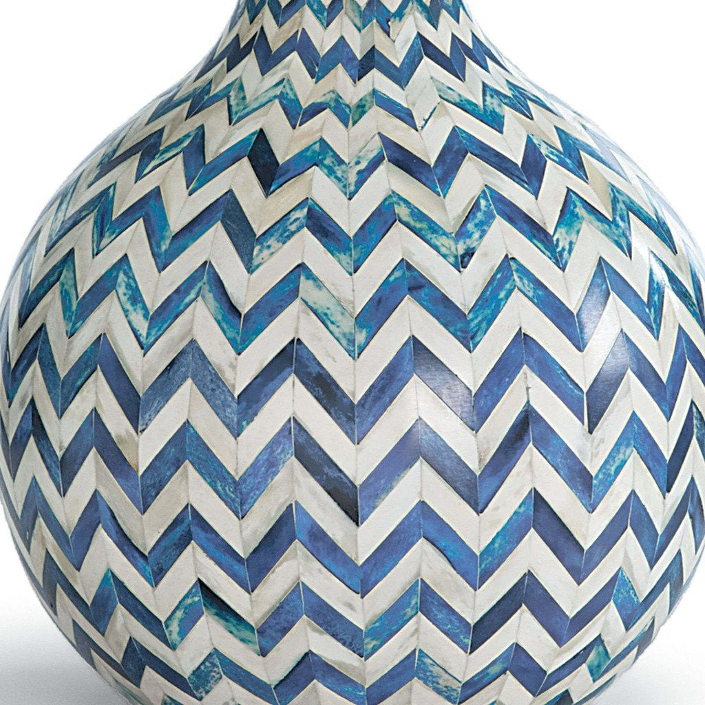 Regina Andrew Chevron Bone Table Lamp, Indigo