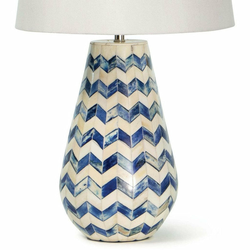 Coastal Living Cassia Chevron Table Lamp, Blue-Table Lamps-Coastal Living-Heaven's Gate Home