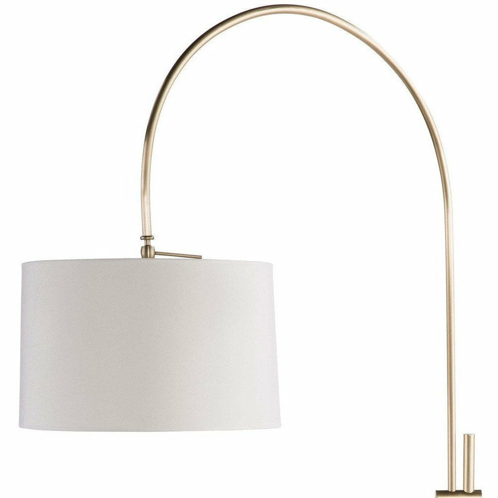 Regina Andrew Arc Floor Lamp With Fabric Shade (Natural Brass) - Heaven's Gate Home & Garden