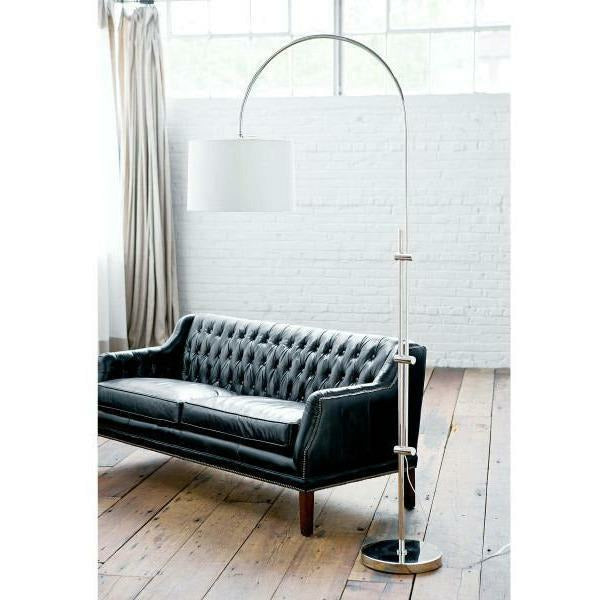 Regina Andrew Arc Floor Lamp With Fabric Shade (Polished Nickel)-1