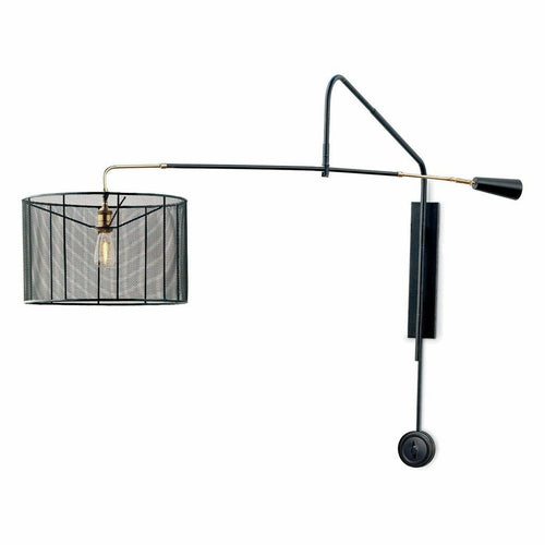 Coastal Living Boom Industrial Steel Boom Arm Sconce, Black-Wall Sconces-Coastal Living-Heaven's Gate Home, LLC