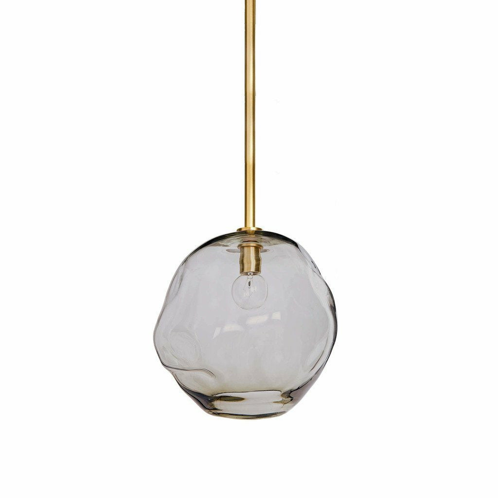 Regina Andrew Molten Pendant Large With Smoke Glass, Natural Brass-Pendant Lamps-Regina Andrew-Heaven