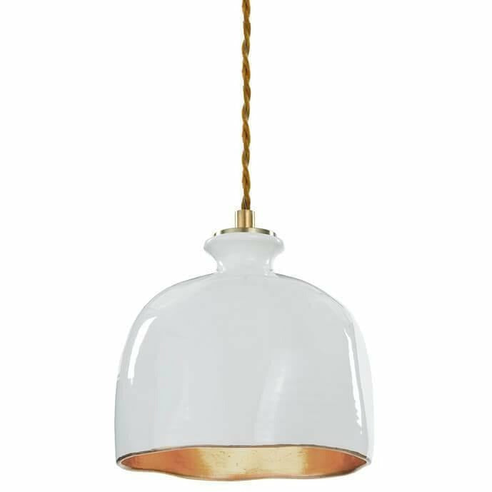 Regina Andrew Bianca Ceramic Pendant, Gloss White and Gold-Pendant Lamps-Regina Andrew-Heaven