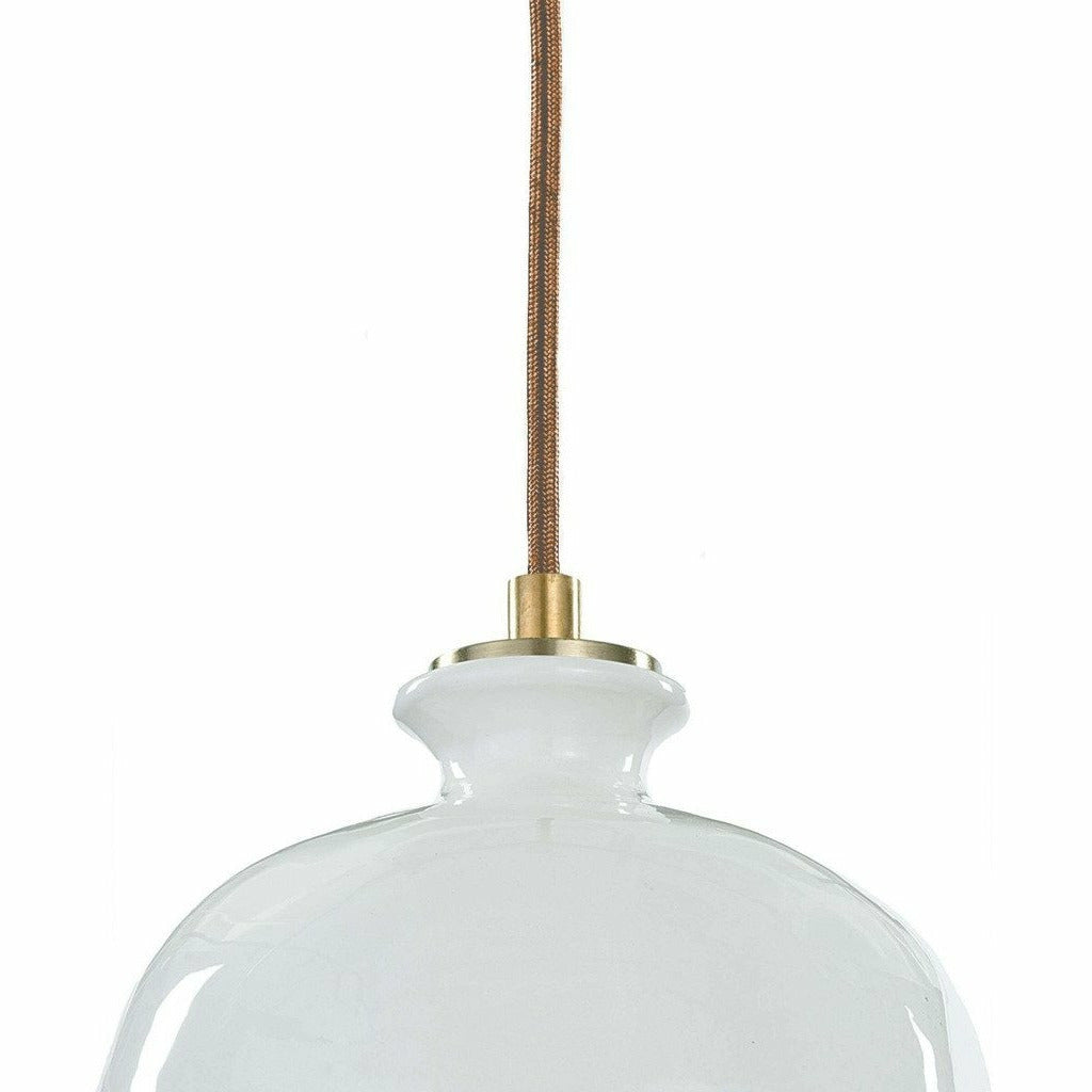 Regina Andrew Bianca Ceramic Pendant, Gloss White and Gold