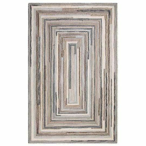 Company C Concentric Squares Hand-Tufted 100% Wool Rug, Gray-Rugs-Company C-4' x 6'-Heaven's Gate Home, LLC
