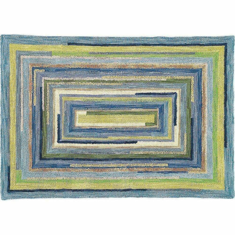 Company C Concentric Squares Hand-Tufted, 100% Wool Rug, Sky Blue-Rugs-Company C-5' x 8'-Heaven's Gate Home, LLC