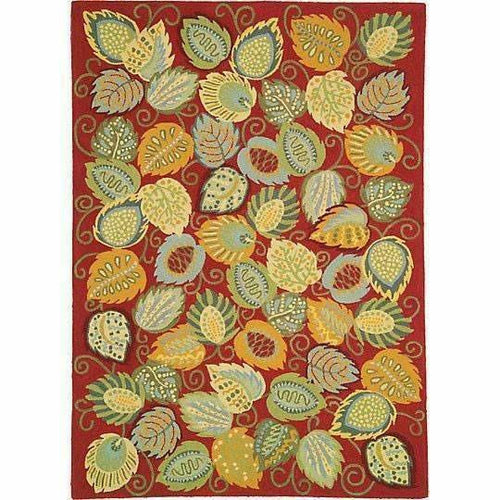 Company C Foliage 100% Wool, Contemporary Hand-Hooked Rug, Chili-Rugs-Company C-3' x 5'-Heaven's Gate Home