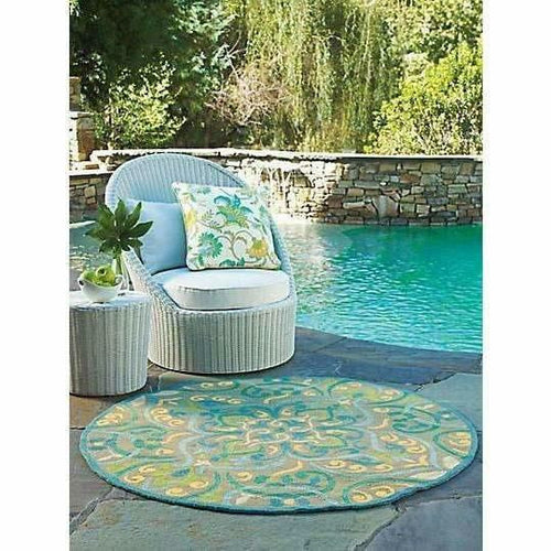 Company C Morocco 100% Polypropylene Hand-Hooked Rug, Indoor/Outdoor, Aqua-Rugs-Company C-Heaven's Gate Home