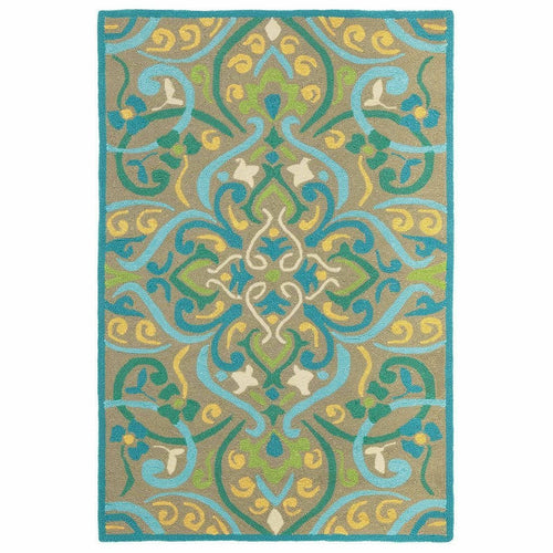 Company C Morocco 100% Polypropylene Hand-Hooked Rug, Indoor/Outdoor, Aqua-Rugs-Company C-3' x 8' Runner-Heaven's Gate Home
