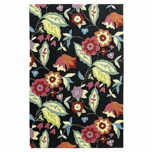 Company C Samantha 100% Polypropylene Hand-Hooked Rug, Black, Indoor/Outdoor-Rugs-Company C-4' x 6'-Heaven's Gate Home