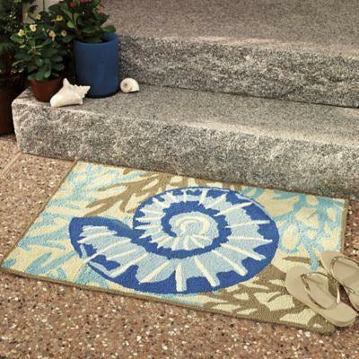 Company C Adele Adrift Hand Hooked Contemporary Indoor/Outdoor Rug, Blue-Rugs-Company C-Heaven's Gate Home, LLC