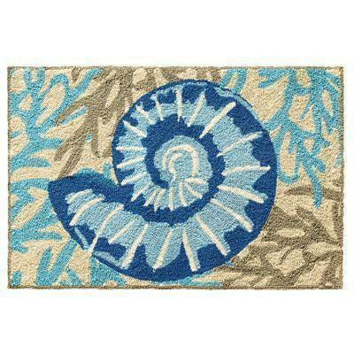 Company C Adele Adrift Hand Hooked Contemporary Indoor/Outdoor Rug, Blue-Rugs-Company C-Heaven's Gate Home