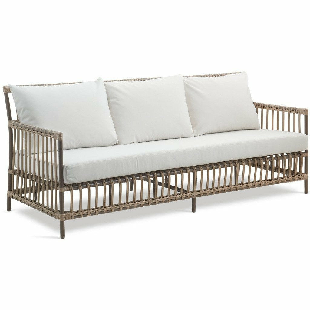 Sika-Design Exterior Caroline 3-Seater Sofa w/ Cushion, Outdoor-Sofas-Sika Design-Moccachino-Tempotest White Canvas Seat and Back Cushions-Heaven's Gate Home