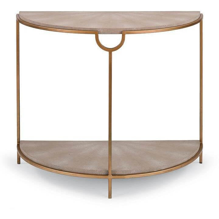Regina Andrew Vogue Shagreen Demilune Console (Ivory Grey and Brass) - Heaven
