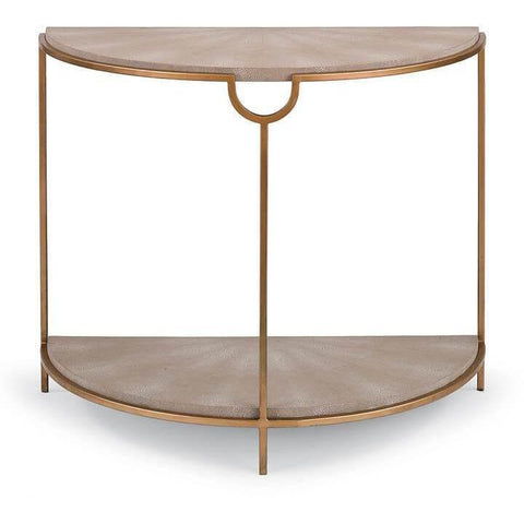 Regina Andrew Vogue Shagreen Demilune Console (Ivory Grey and Brass) - Heaven's Gate Home & Garden