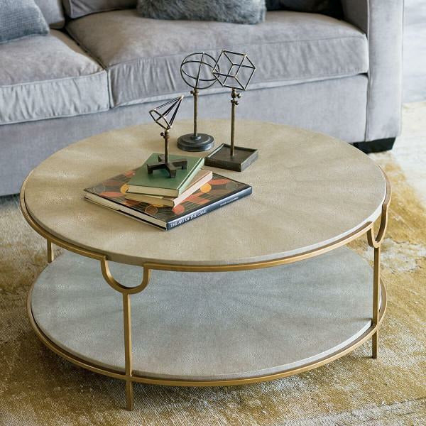 Regina Andrew Vogue Shagreen Cocktail Table (Ivory Grey and Brass) - Heaven