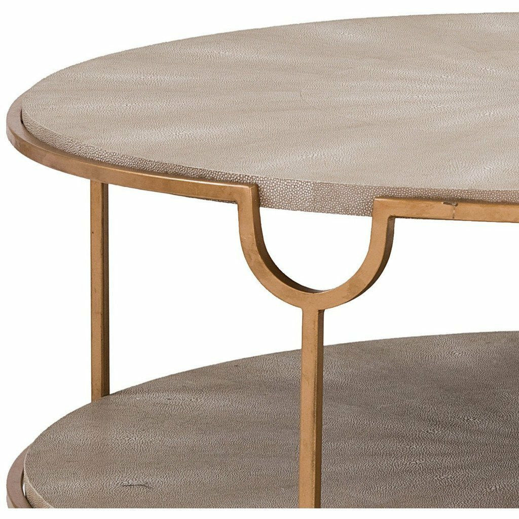 Regina Andrew Vogue Shagreen Cocktail Table, Ivory Grey and Brass-Coffee/Cocktail Tables-Regina Andrew-Heaven's Gate Home