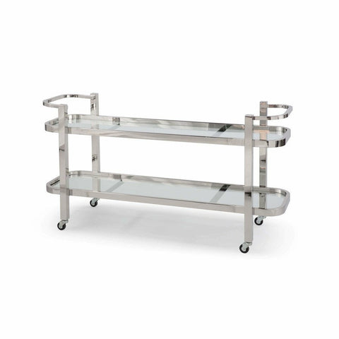 Regina Andrew Carter Bar Cart, Polished Stainless Steel-Bar Carts-Regina Andrew-Heaven's Gate Home