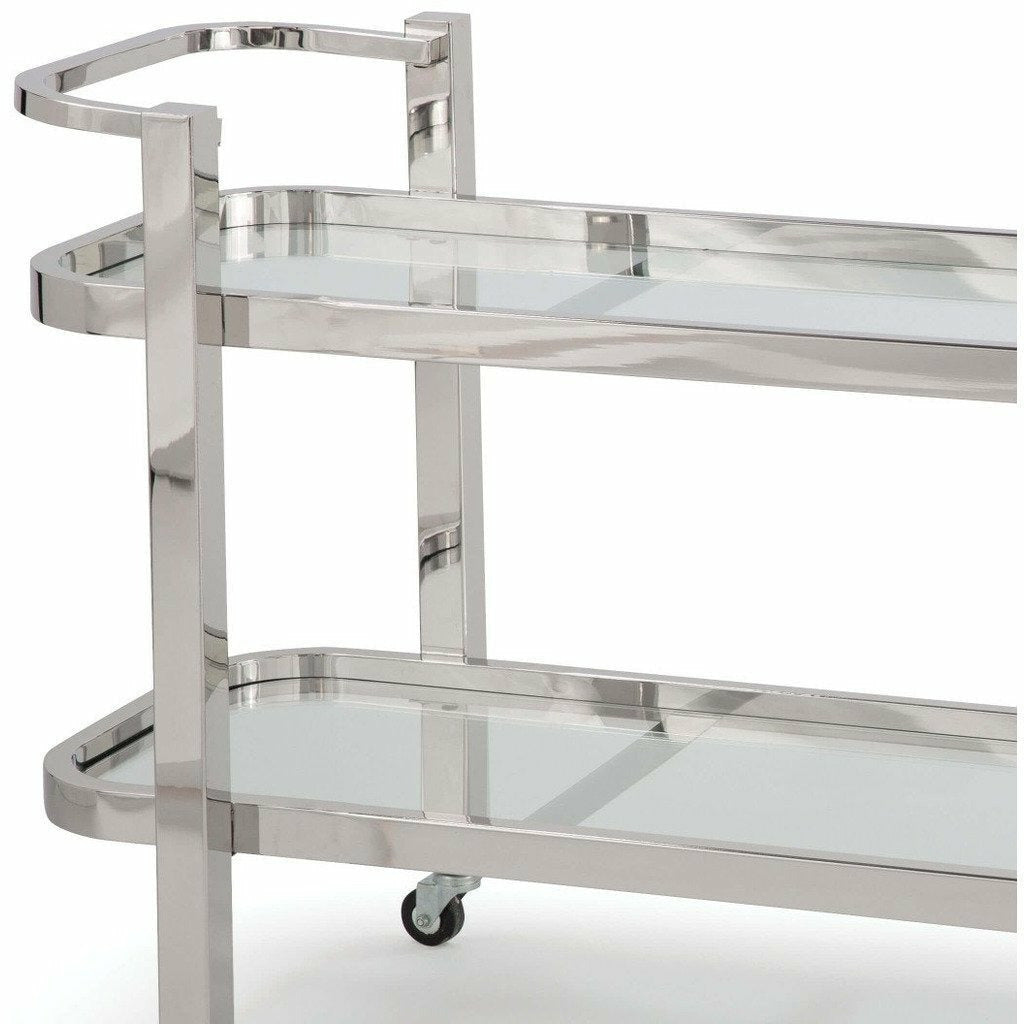 Regina Andrew Carter Bar Cart (Polished Stainless Steel)-2