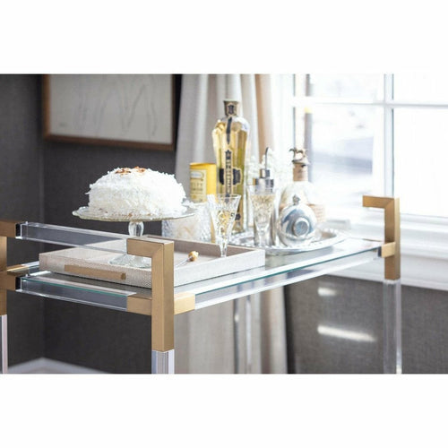 Regina Andrew Americano Bar Cart, Acrylic, Natural Brass-Bar Carts-Regina Andrew-Heaven's Gate Home, LLC