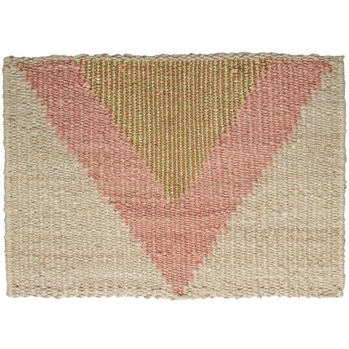 "Langdon LTD Arrow Natural Jute Doormat, Peach/Gold Metallic Thread-Doormats-Langdon, LTD-20"" x 30""-Peach-Heaven's Gate Home"