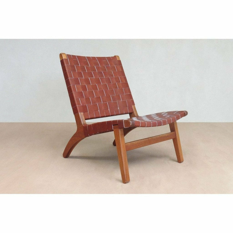 Masaya Lounge Chair, Leather/Royal Mahogany-Lounge Chairs-Masaya & Co.-Saddle Leather-Heaven's Gate Home