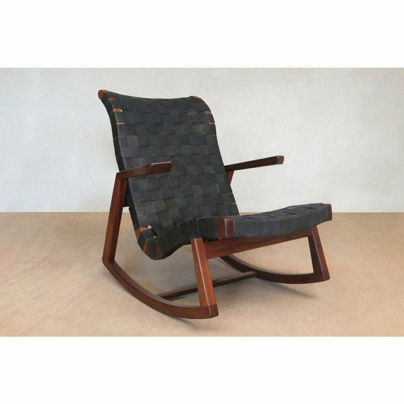 Masaya Amador Rocking Chair, Leather-Rocking Chairs-Masaya & Co.-Black Leather-Teak-Heaven's Gate Home