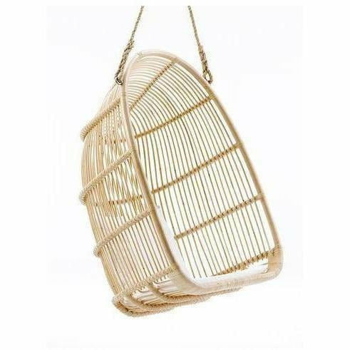 Sika-Design Originals Rattan Renoir Swing/Hanging Chair w/ Cushion, Indoor-Hanging Chairs-Sika Design-Natural-Tempotest White Canvas Cushion-Heaven's Gate Home