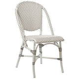 Sika-Design Alu Affaire Sofie White Aluminum Dining Side Chair, Outdoor-Dining Chairs-Sika Design-White Frame // White / Cappuccino Dots-Heaven's Gate Home