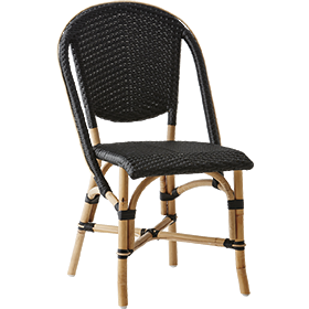 Sika-Design Affaire Sofie Rattan Side Bistro Chair, Stackable, Indoor/Covered Outdoor-Dining Chairs-Sika Design-Black / Black Dots-Heaven's Gate Home
