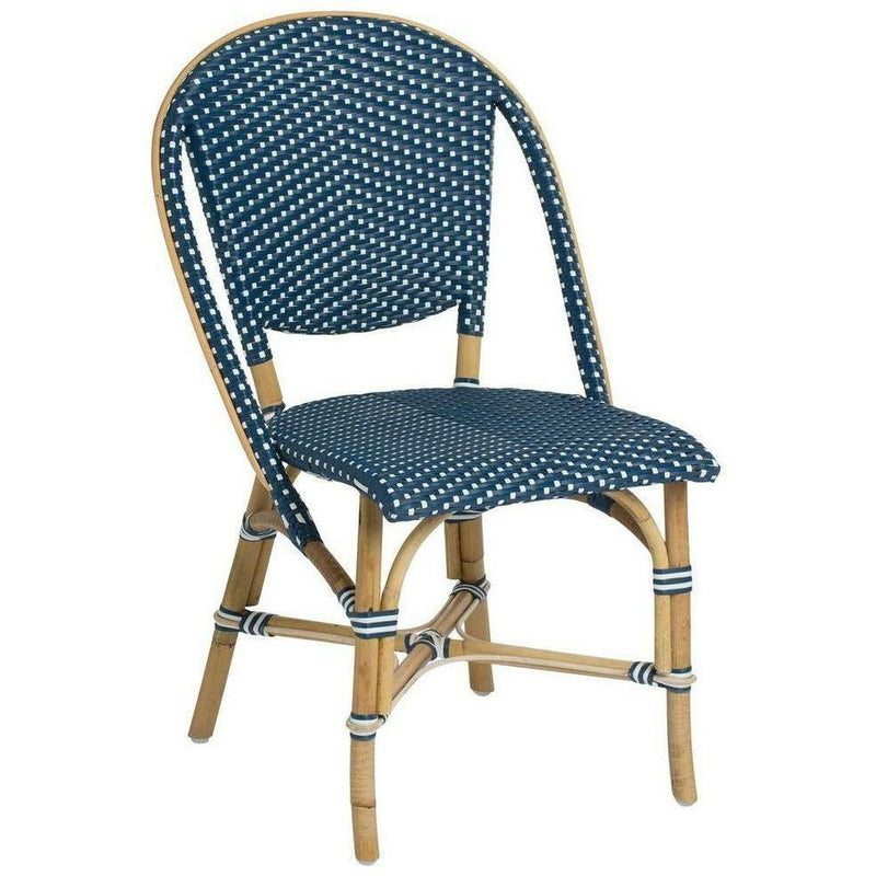 Sika-Design Affaire Sofie Rattan Side Bistro Chair, Stackable, Indoor/Covered Outdoor-Dining Chairs-Sika Design-Navy Blue / White Dots-Heaven's Gate Home