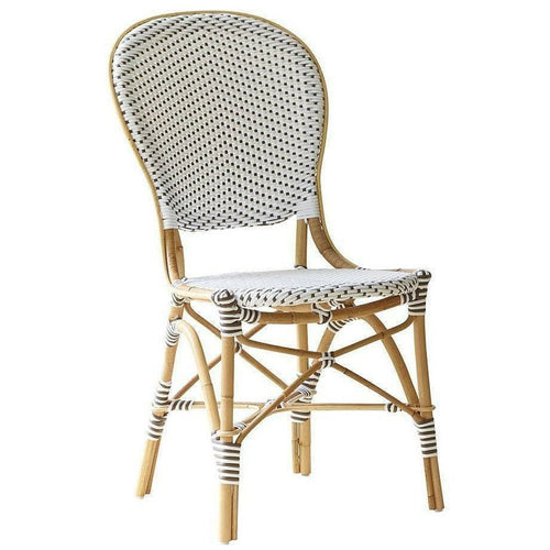 Sika-Design Affaire Isabell Rattan Bistro Side Chair, Stackable, Indoor/Covered Outdoor-Dining Chairs-Sika Design-White / Cappuccino Dots-Heaven's Gate Home, LLC