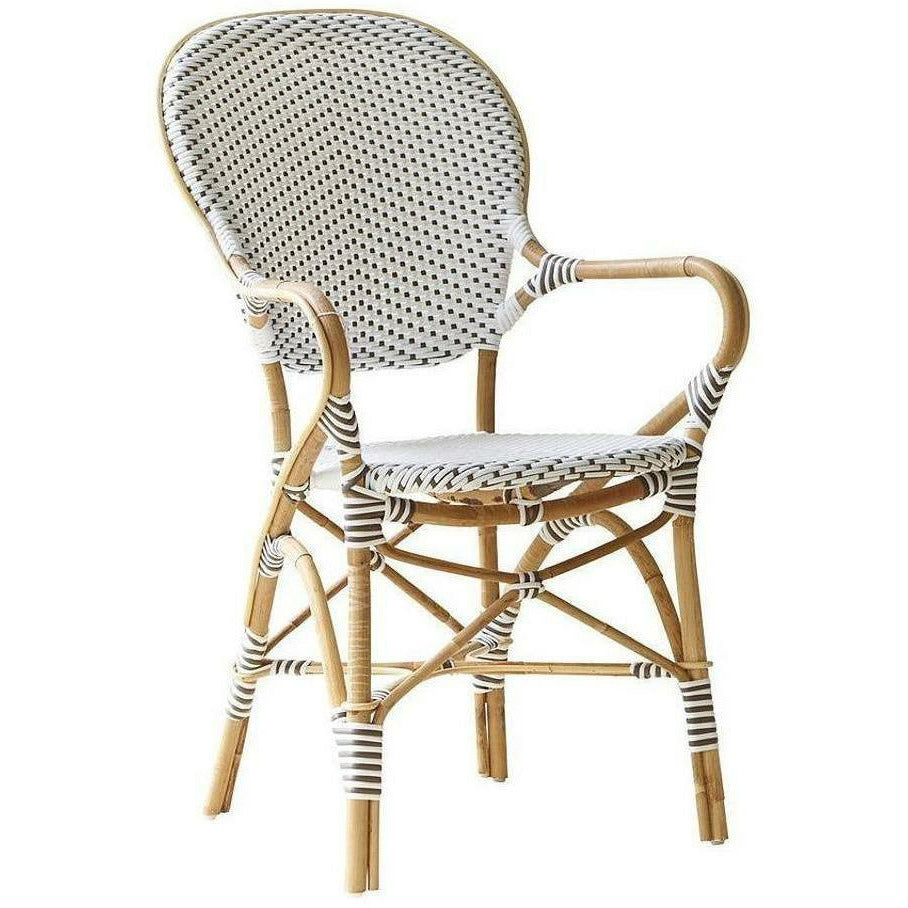 Sika-Design Affaire Isabell Bistro Stacking Arm Chair, Indoor/Covered Outdoor-Dining Chairs-Sika Design-White / Cappuccino Dots-Heaven's Gate Home