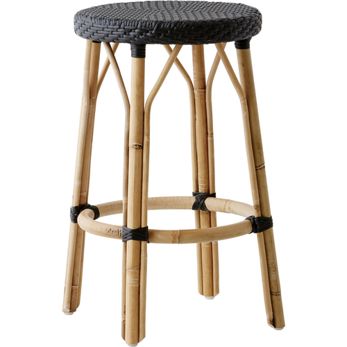 Sika-Design Affaire Simone Rattan Counter Stool, Stackable, Indoor/Covered Outdoor-Counter Stools-Sika Design-Black / Black-Heaven's Gate Home, LLC