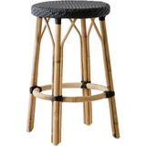 Sika-Design Affaire Simone Rattan Counter Stool, Stackable, Indoor/Covered Outdoor-Counter Stools-Sika Design-Black / Black-Heaven's Gate Home