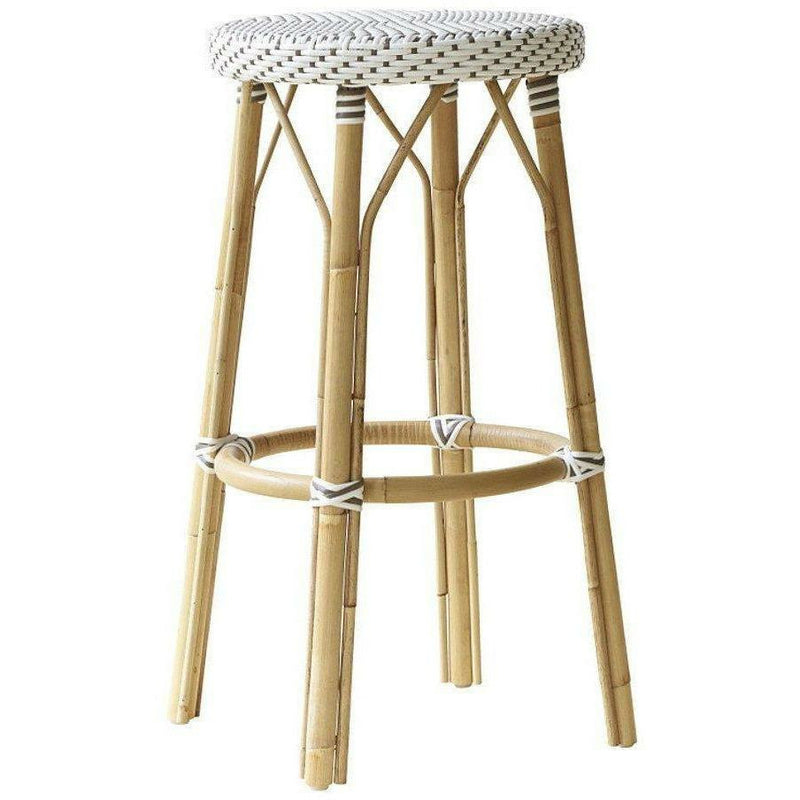 Sika-Design Affaire Simone Rattan Bar Stool, Stackable, Indoor/Covered Outdoor-Bar Stools-Sika Design-White / Cappuccino Dots-Heaven's Gate Home