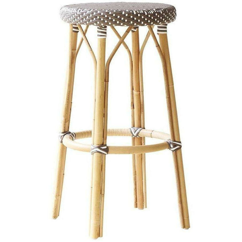 Sika-Design Affaire Simone Rattan Bar Stool, Stackable, Indoor/Covered Outdoor-Bar Stools-Sika Design-Cappuccino / White Dots-Heaven's Gate Home