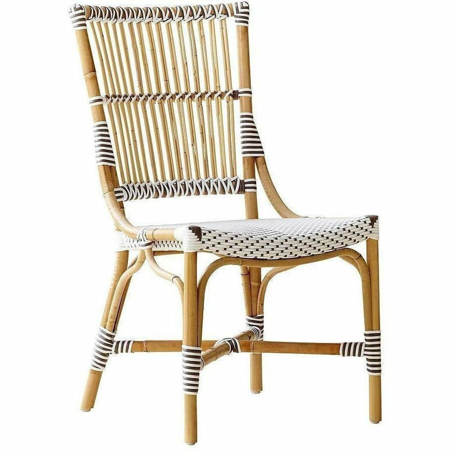 Sika-Design Affaire Monique Rattan Side Chair, Indoor/Covered Outdoor-Dining Chairs-Sika Design-White / Cappuccino Dots-Heaven