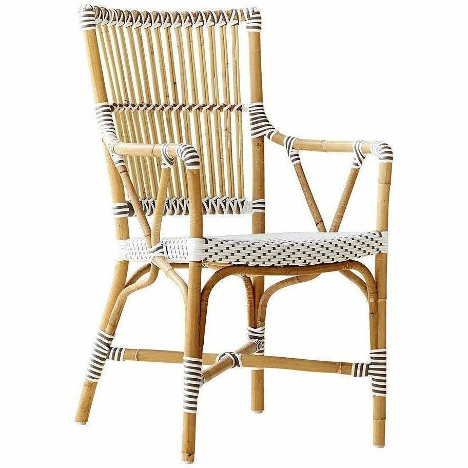 Sika-Design Affaire Monique Rattan Arm Chair, Indoor/Covered Outdoor-Dining Chairs-Sika Design-White / Cappuccino Dots-Heaven