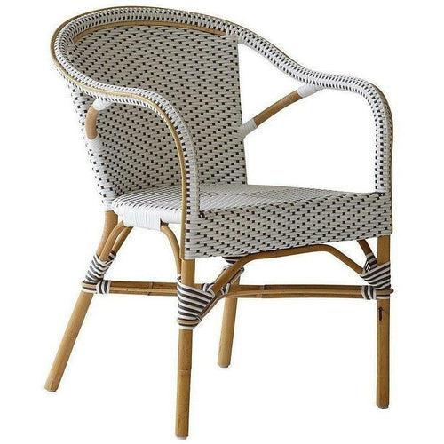 Sika-Design Affaire Madeleine Bistro Arm Chair, Stackable, Indoor/Covered Outdoor-Dining Chairs-Sika Design-White / Cappuccino Dots-Heaven's Gate Home, LLC