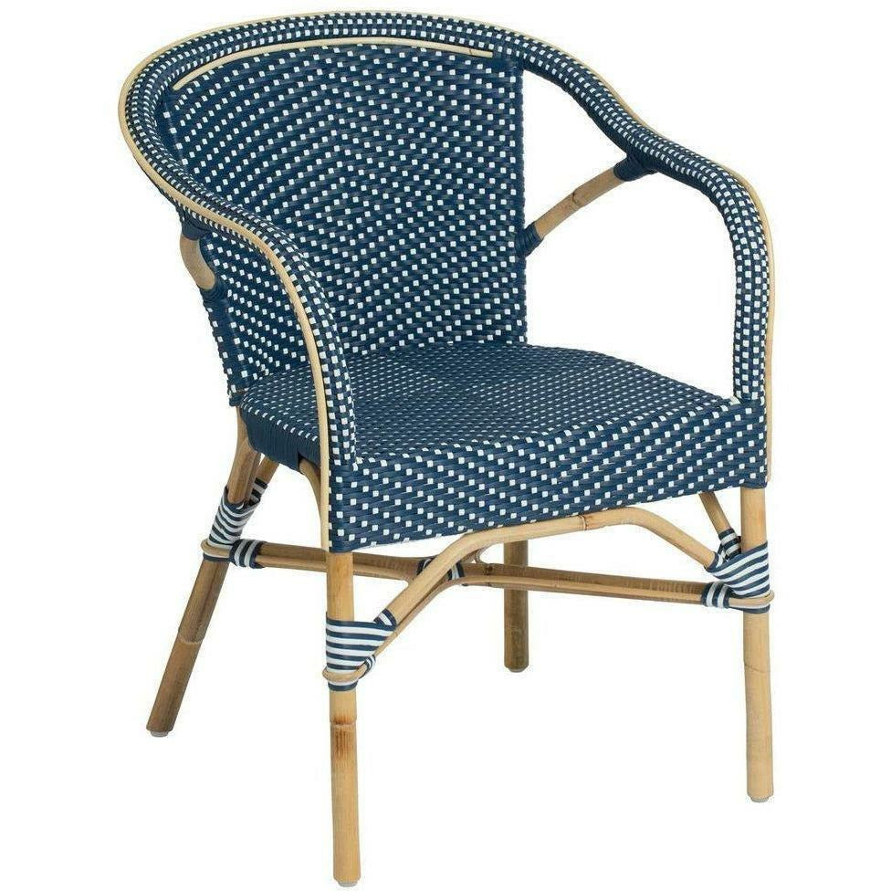 Sika-Design Affaire Madeleine Bistro Arm Chair, Stackable, Indoor/Covered Outdoor-Dining Chairs-Sika Design-Navy Blue / White Dots-Heaven's Gate Home