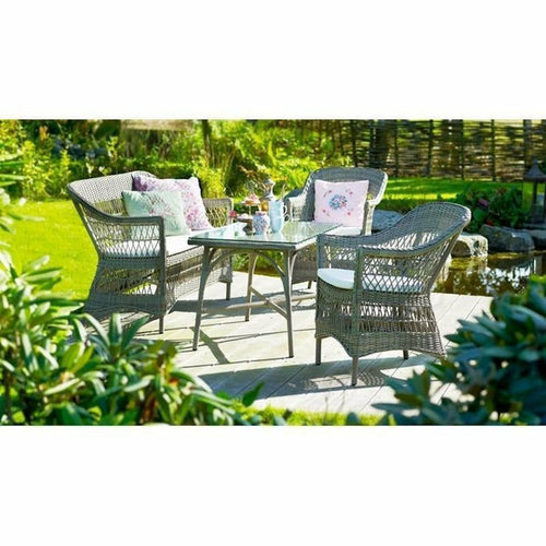 Sika-Design Georgia Garden Charlot 2-Seater w/ Cushion, Outdoor-Sofas-Sika Design-Antique-Polyester Snow White Cushion-Heaven's Gate Home