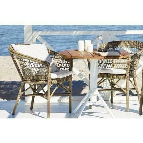 Sika-Design Georgia Garden Emma Dining Chair w/ Cushion, Outdoor-Dining Chairs-Sika Design-Antique-Polyester Snow White Cushion-Heaven's Gate Home