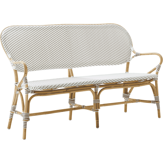 Sika-Design Affaire Isabell Rattan Bench, Indoor/Covered Outdoor-Benches-Sika Design-White / Cappuccino Dots-Heaven's Gate Home