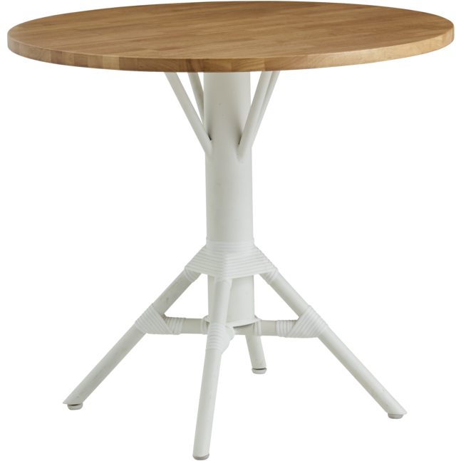 "Sika-Design Alu Affaire Nicole Cafe Table w/ 32"" Round Teak Top, Outdoor-Bistro & Cafe Tables-Sika Design-White-Heaven's Gate Home"