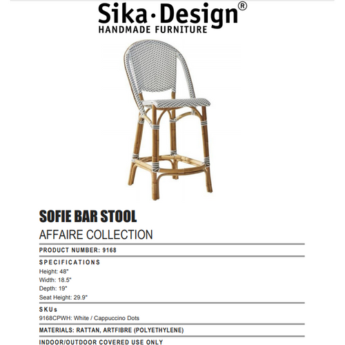 Sika-Design Affaire Sofie Rattan Bar Stool, Indoor/Covered Outdoor-Bar Stools-Sika Design-White / Cappuccino Dots-Heaven's Gate Home