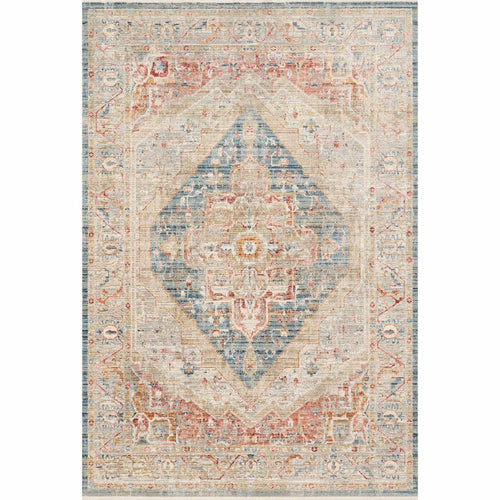 "Loloi Claire CLE-04 Traditional Power Loomed Area Rug-Rugs-Loloi-Blue-1'-6"" x 1'-6"" Sample-Heaven's Gate Home, LLC"