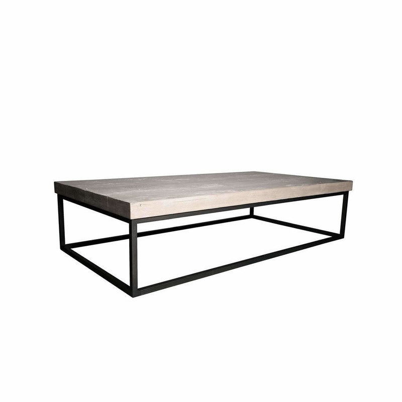 "CFC Marin Reclaimed Wood/Steel Coffee Table, Grey Wash, 60"" L (Small) *Quick Ship*-Coffee/Cocktail Tables-CFC-Heaven's Gate Home"
