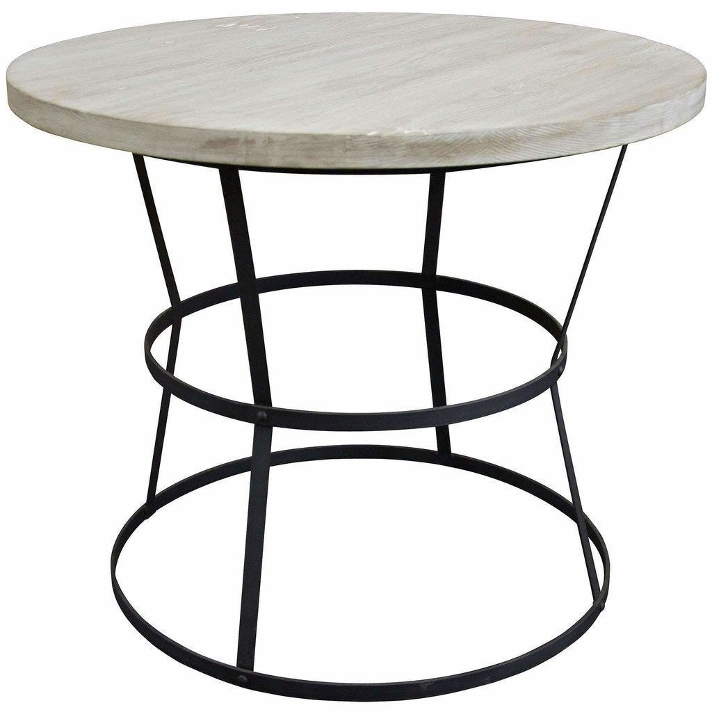 "CFC Brookfield Reclaimed Wood/Steel Side Table, Large, 36"" Round, Gray Wash *Quick Ship*-Side Tables-CFC-Heaven"