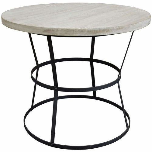 "CFC Brookfield Reclaimed Wood/Steel Side Table, Large, 36"" Round, Gray Wash *Quick Ship*-Side Tables-CFC-Heaven's Gate Home"